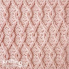This pattern gives a dense texture in which the illusion of diagonal b Interlocking Lattice cable stitch. This pattern gives a dense texture in which the illusion of diagonal basket weaving is extremely realistic. Knitting Stiches, Knitting Charts, Loom Knitting, Crochet Stitches, Knit Crochet, Knitting Stitch Patterns, Knitting Basics, Purl Stitch, Cable Stitch Knit