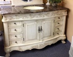 Antiqued French Country Bathroom Vanity Cabinet In By Artisan8 1295 00 Country Bathroom