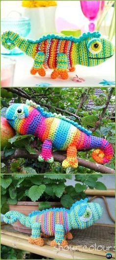 Amigurumi Crochet Karma Chameleon Free Pattern - Crochet Chameleon Amigurumi Softies Toy Patterns