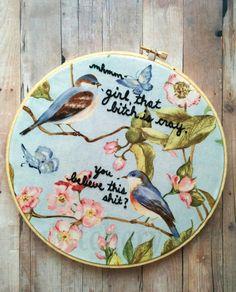 Subversive embroidery subversive cross stitch, snarky birds wall art. Embroidery hoop art, hoop art, hand embroidery.