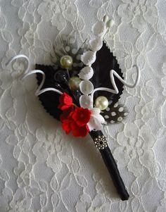 Vintage Style - Black, White and RED Boutonniere.