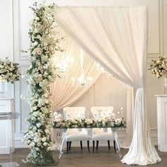 Breathtaking chuppah design that got us smitten! Love how the greenery and drapery combo builds an intimate nuance. Who loves this too? Hands up! Decoration Rachel A. Clingen Wedding & Event Design / Planning @psletsparty / Venue @thearlingtonestate / Draping @eventuredesign / Rentals @detailzchaircouture
