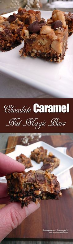 Chocolate Caramel Nut Magic Bars ~ Sumptuous Spoonfuls #orgasmic #chewy #layer #bars #recipe