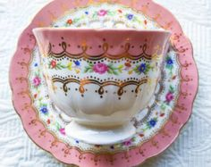Darling Patterned Pink Embossed Aynsley 1930's Teacup and Saucer - Edit Listing - Etsy