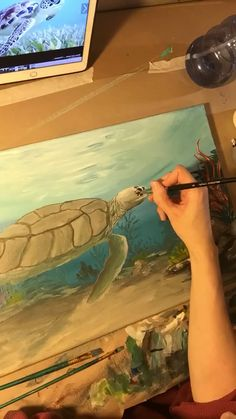 Sea Turtle time lapse painting part 2 Sea Turtle time lapse painting part 2 TrueAcrylics virghood Love of the ocean Have a custom underwater painting created just nbsp hellip Painting videos Painting Videos, Painting Lessons, Painting Tutorials, Sea Turtle Painting, Deviantart Drawings, Turtle Time, Underwater Painting, Art Abstrait, Beach Art