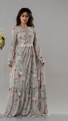 A quality floral dress, modest and trendy. Fabric: Soft Size: M, L Colour: Grey Round Collar, Victorian, Dresses With Sleeves, Grey, Long Sleeve, Floral, Fabric, Color, Fashion