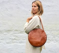 Unique brown round leather tote bag. Less is more! You will have an absolutly individual look with this simple leather bag. I sewed it from premium