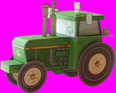 """This paper model is a simple Tractor for Kids, created by Kid Scraps. """"This tractor paper craft looks like a familiar member of the farmer's family of equipment. You'll love the detail to authenticity and the big movable wheels. Printable Crafts, Printable Paper, Free Printables, Printable Templates, Cardboard Crafts, Paper Crafts, Tractor Crafts, Tractors For Kids, Farm Birthday"""