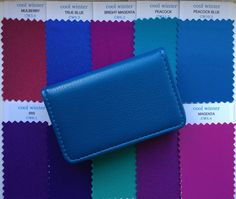 Bright Winter Fabric Swatches in faux leather wallet. Shop with your ten best colours in x fabric swatches. Additional Bright Winter fabric colours available. Cool Winter Color Palette, Winter Colors, Bright Winter Outfits, Clear Winter, Deep Winter, Color Swatches, Fabric Swatches, Leather Case, Leather Wallet