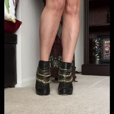"""BeBe Chain Booties Size 9!! These booties are made for walkin'!! Soft leather AND leather sole! Great quality! 3 3/4"""" heel, 3/4"""" hidden platform. Trade value higher ! Bebe Shoes"""