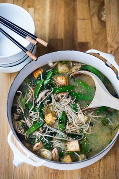 A Healing Bowl of Goodness! Swimming Soba Noodle Soup with miso broth, mushrooms, snow peas, sesame and tofu. A healthy one pot dinner full of veggies and nutrients!  Vegan and GF |www.feastingathome.com