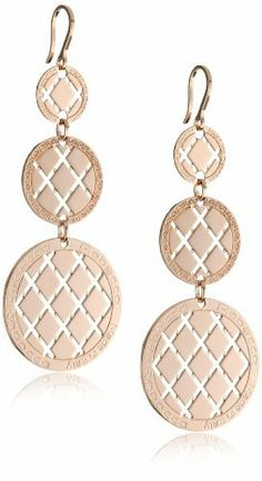"""Rebecca """"Melrose"""" Rose Gold Over Bronze Crossweave Patterned Earrings REBECCA. $340.00. Stunning rose gold triple medallion earrings with signature Rebecca pattern. Stunning rose gold triple medallion earrings with signature Rebecca pattern Made in IT. Made in Italy. Embellished with 'Rebecca' logo and 'Made in Italy' stamp. 18k rose gold over bronze"""