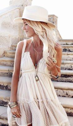 White boho sun dress
