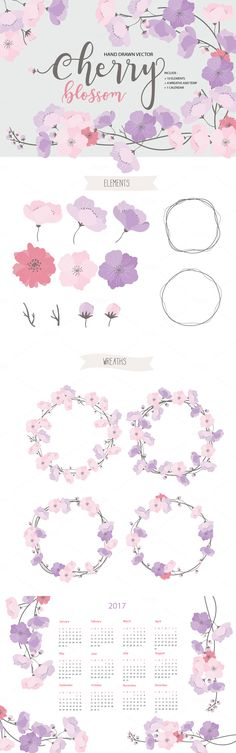 Cherry blossom hand drawn vector by beerjunk on @creativemarket