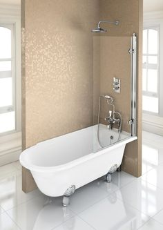 Freestanding bath of traditional look. We love this as its single ended #freestandingbath