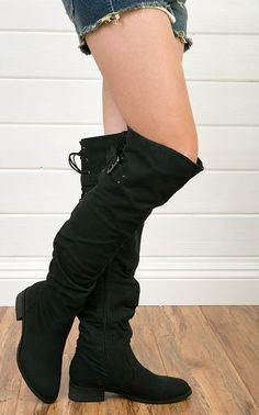 Amazon.com: Olympia-01 Leatherette Slouchy Lace Back Thigh High Boot Black: Shoes