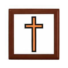 Black/Orange-Colored Christian Cross