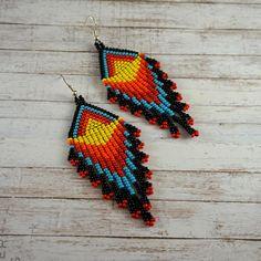 Black earrings Statement earrings Boho earrings Bohemian
