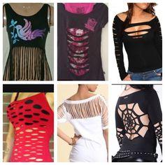 Diy t-shirt ideas Zerschnittene Shirts, Diy Cut Shirts, Cutout Shirts, T Shirt Diy, Ripped Shirts, Cut Tshirt Ideas, Ways To Cut Shirts, Tees, Shirt Makeover