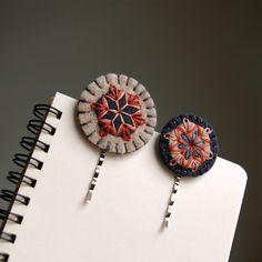 Wool Felt Bobby Pins // Hand Embroidered // Slate // LoftFullOfGoodies
