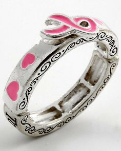 Antique Silver Tone / Pink Epoxy / Lead Compliant / Pink Ribbon Stretch Ring