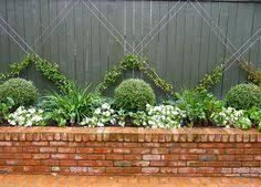 Image result for garden brick planter with box hedge