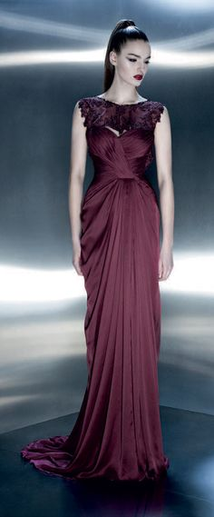 Pavoni Beautiful Lace & Ruched Gown   #Burgandy #Maroon