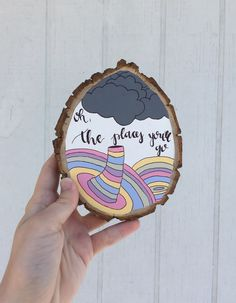 Dr. Seuss inspired nursery wood slice art by Kayla Johnson; colorful wood decor painting for the whimsical