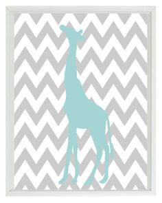 Elephant Giraffe Chevron Nursery Wall Art Print - Aqua Gray Decor - Children Kid Baby Room - Wall Art Home Decor Set 3 8x10 Prints. $42.00, via Etsy.