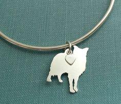 Border Collie Dog Bangle Bracelet Sterling Silver by DiBAdog