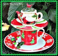 Cardinal Teapot Garden Totem /Centerpiece by GardenWhimsiesByMary, $40.00
