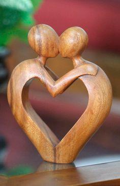 Heart ~ 'Sweet Love' Balinese Suar Wood Sculpture