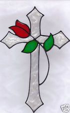 faux stained glass rose cross window cling