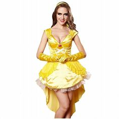 3Pc Princess Belle Costume Dress Headpiece Gloves Cosplay Beauty Satin Elegent Desses | Winter Wedding Ideas *** Find out more about the great product at the image link. (This is an affiliate link) #WinterWeddingIdeas