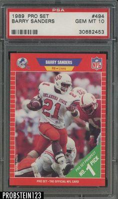 1989 Pro Set  494 Barry Sanders Lions RC Rookie HOF PSA 10 GEM MINT Football e82c01657