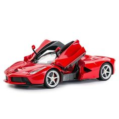 Charge up the rechargeable battery on this Rastar Ferrari, then let your little one operate this sleek sports car with the remote. This car is made with manual doors and functional headlights and tail