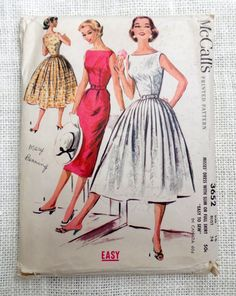 Vintage Pattern McCalls 3652 1950s Rockabilly prom dress new look full skirt Bust 34 Formal Bateau Wiggle    McCalls 3652; ©1956; Misses