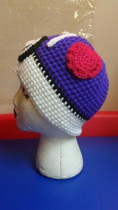 Crochet Pokémon Masterball inspired adult child infant size character beanie hat by MrsTsCrochet on Etsy