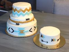 Tribal inspired Birthday Cake and Smash cake - gold, black, mint and white by Sweetest Things in Cincy