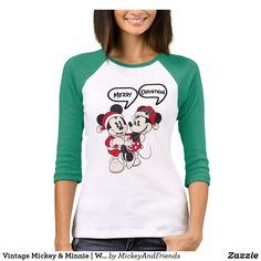 Vintage Mickey & Minnie Warm & Cozy T-shirt, Women's, Size: Adult M, White/Kelly Disney Christmas Shirts, Disney Shirts, Christmas Clothing, Disney Clothes, Mickey Mouse T Shirt, Minnie Mouse, Vintage Mickey, Mickey And Friends, T Shirts For Women