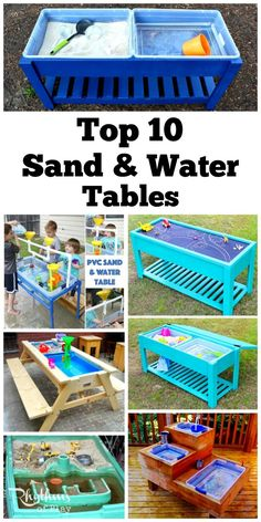Every backyard should have at least one outdoor play space for kids. Sand and water tables are a perfect option! They are a great way for kids to have fun while staying cool in the backyard.  They are primarily used for sensory play, but they can also be