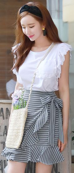 StyleOnme_Gingham Print Ruffle Ribbon Tie Wrap Skirt #cute #ribbon #gingham #ruffle #koreanfashion #kstyle #kfashion #seoul #skirt #summertrend