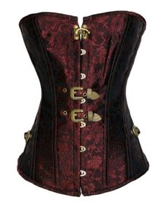 Steampunk Strapless Button Design Push Up Lace Up Corset $25.73 AT vintagedancer.com