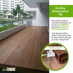 Like the beauty of a wood-look decking but dislike the hassle of maintaining it? Invest in evoDECK, the decking that requires little maintenance! Deck Maintenance, Condo Balcony, Outdoor Decking, Outdoor Decor, Water Hose, Balcony Design, Indoor Garden, Teak, Singapore