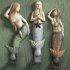 Vintage mermaid coastal wall hooks