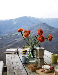 Outside in the mountains ( be like this pot  of flowers on the table .. irrespective of the clutter its surrounded by it still sits beautifully and balances everything else out of its way :)