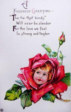 Rose Flower Face Vintage Greeting Card