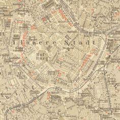 1907 Original Vienna Antique City Map Street by CarambasVintage, $25.00