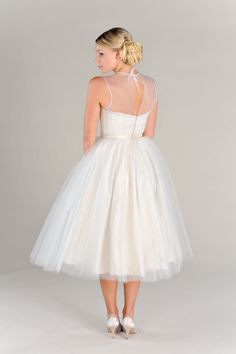 Wedding Dress Short Vintage Style Eco Friendly Tulle Illusion neckline Sweetheart Bridesmaid Party Dress
