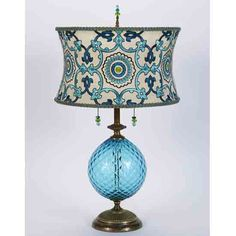Ingrid by Susan Kinzig and Caryn Kinzig (Mixed-Media Table Lamp) Mixed-Media Table Lamp - Brightly colored turquoise blown glass, round shade covered with embroidered silk, beaded pulls and finial, double bulb socket. Lamp Light, Light Up, Media Table, Style Deco, Brass Lamp, Pendant Lamps, Pendant Lights, Outdoor Light Fixtures, Home And Deco